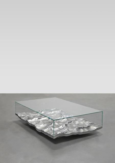 m�rv�ny, alum�nium, foly�kony, �veg, asztal, doh�nyz�asztal, Mathieu Lehanneur