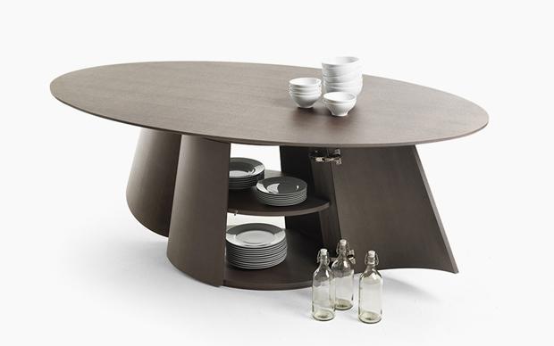 asztal, étkező, ovális, fa, kőrisfa, szekrény, polc, tároló, Alessandro Masturzo, Mogg, Botero