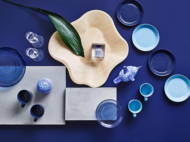 teríték, tányér, táálka, bögre, pohár, Iittala, kék, szín, Kaj Franck, Teema, Kilta