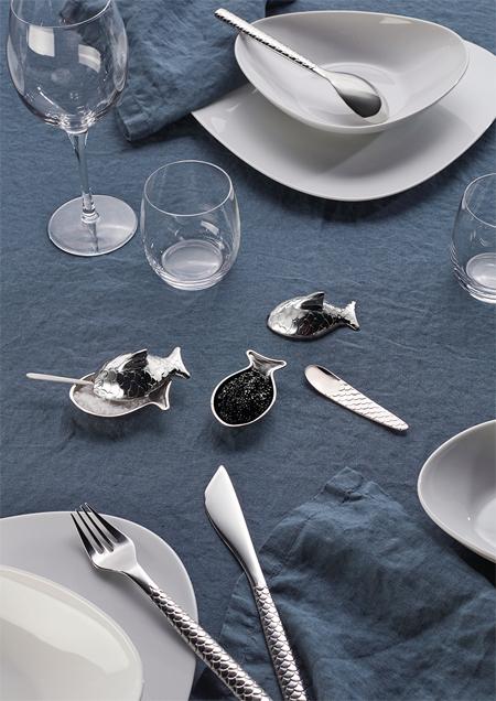 Alessi, étkészlet, osztriga kés, sótartó, hal, pikkely, Colombina, Fuksas, design