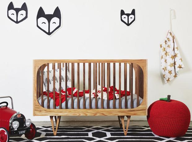 gyerekbútor, ágy, hintaszék, komód, fa, Bunny & Clyde