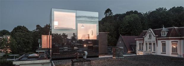 ház, tetőráépítés, tükör, tükörhomlokzat, kocka, építészet, Remco Siebring, Hollandia, Amszterdam